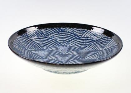 Blue Waves Open Serving Bowl