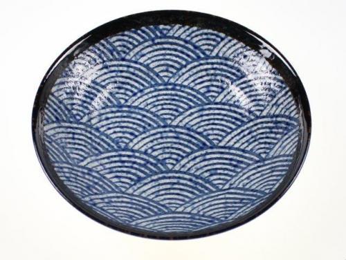 Blue Waves Open Serving Bowl