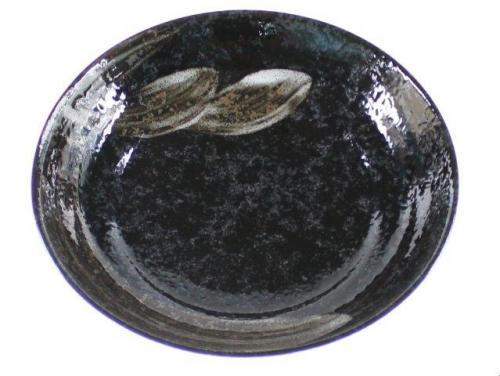 White Brush On Black Open Deep Serving Bowl